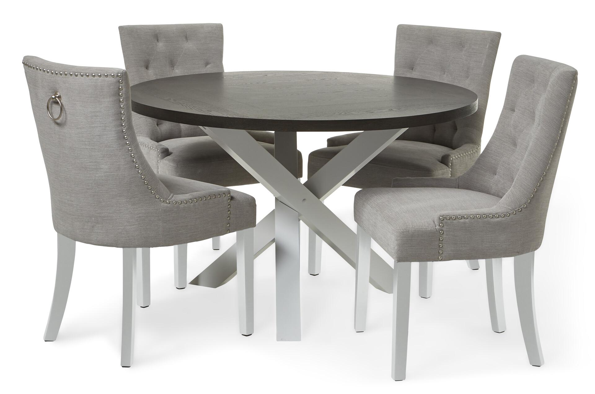 Splitter nya Portland Matgrupp med 4 stolar Charlotte | Matbord | Mio QO-85
