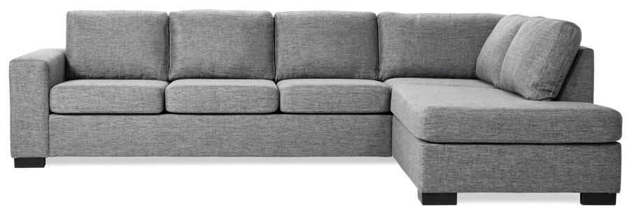 3-sits+divan i tyg Rocco grey